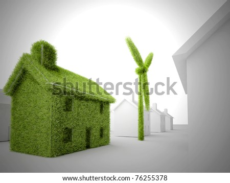 Environmental eco home with wind turbine among other non-eco homes