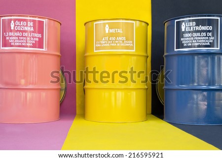 Environmental education - brasses for selective collection of waste  - stock photo