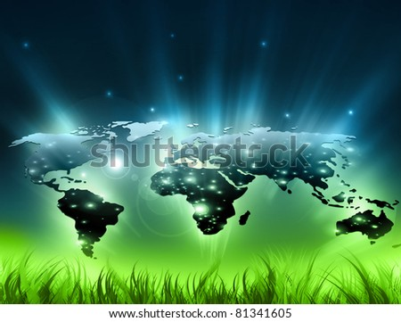 Environmental energy concept. Symbol of environmental protection - stock photo