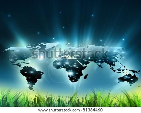 Environmental energy concept. Symbol of environmental protection - stock photo