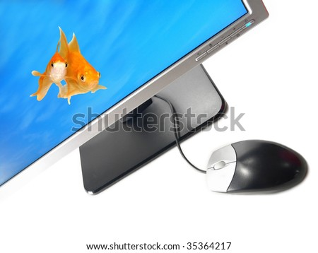 Environmental Friendly Green Technology - A pair of goldfishes coming out from a Wide Screen Computer Monitor (Isolated on white background) - stock photo