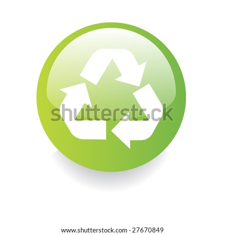 Environmental gradient button with recycling icon isolated on white