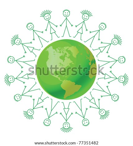Environmental green earth surrounded by people holding hands - stock photo