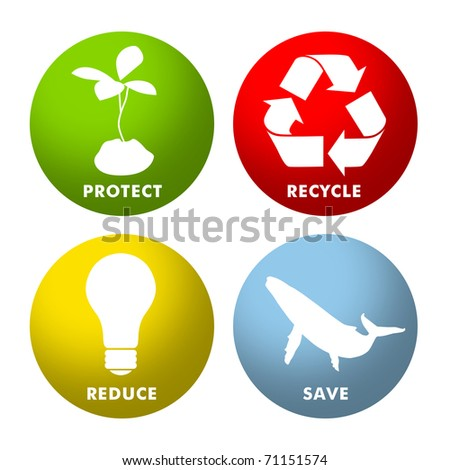Environmental icons for Protect, Recycle, Reduce and Save. - stock photo