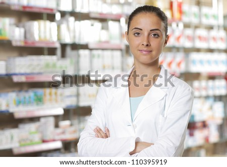 Environmental Portrait of a medical personnel, or doctor in pharmacy - stock photo