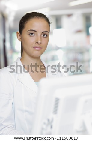 Environmental Portrait of a medical personnel, or doctor in pharmacy