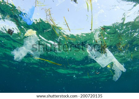 Environmental problem: Plastic bag pollution in ocean - stock photo