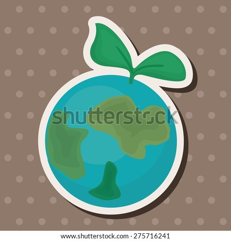 Environmental protection concept ; Protect our env, cartoon sticker icon