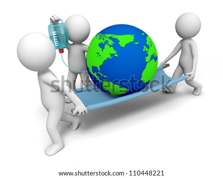 Environmental protection/three people carrying the earth