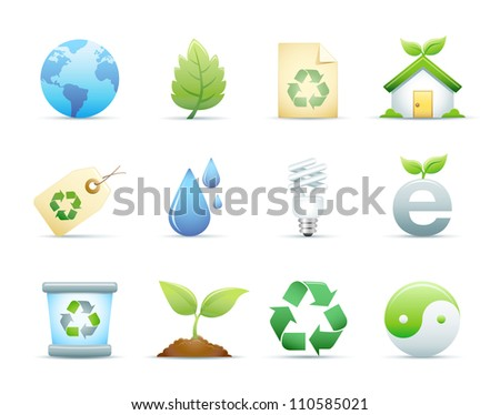 Environmental & Recycle Icons Set - stock photo
