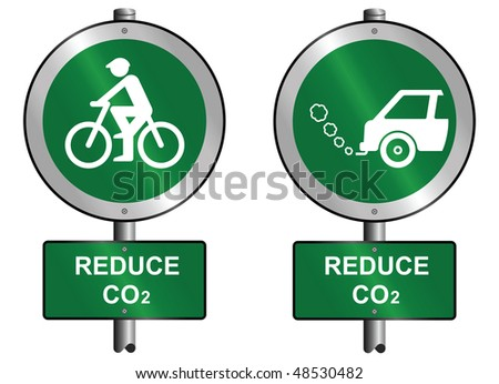 Environmental reduce CO2 signs mounted on post - stock photo