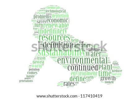 Environmental sustainability in baby crawl shape collage - stock photo