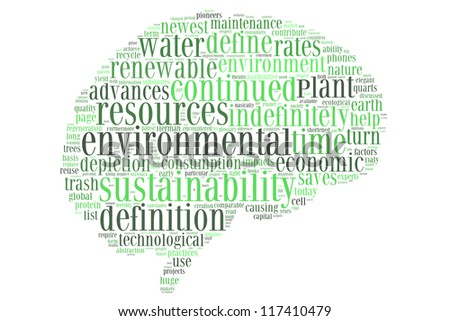 Environmental sustainability in brain shape collage - stock photo