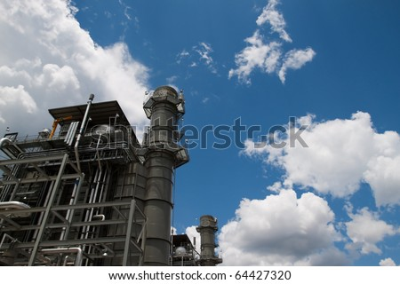 Environmentally advanced technology using methane gas to produce low greenhouse emission electricity.  Clean energy production with copy space. - stock photo