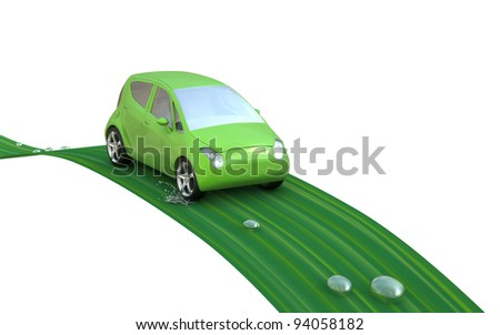 Environmentally friendly car on a leaf. Go Green- concept image. - stock photo
