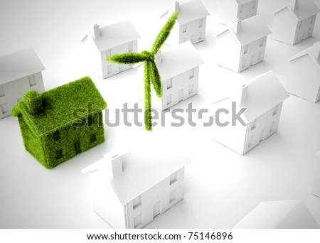 Environmentally friendly Eco house with wind turbine among many non-environmentally friendly houses - stock photo