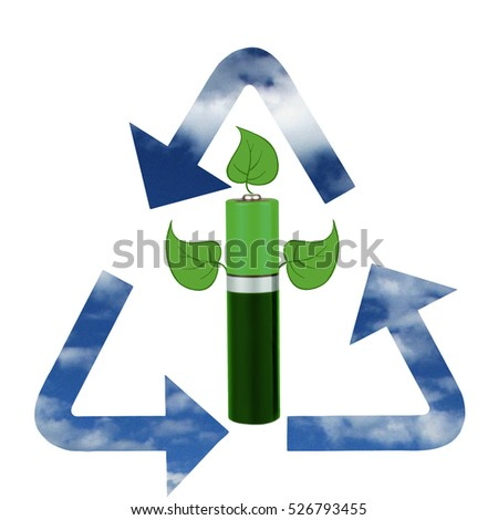 Environmentally friendly energy sources, recycling, battery, white background, isolated, montage