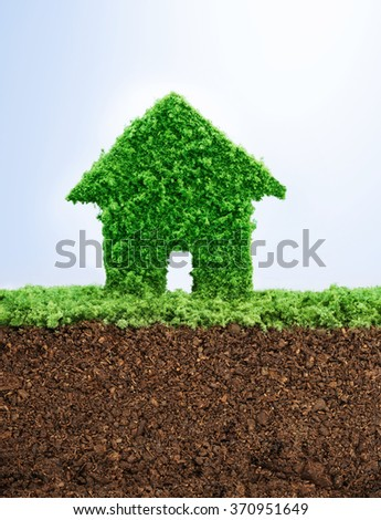 Environmentally friendly living concept with grass in shape of a house - stock photo