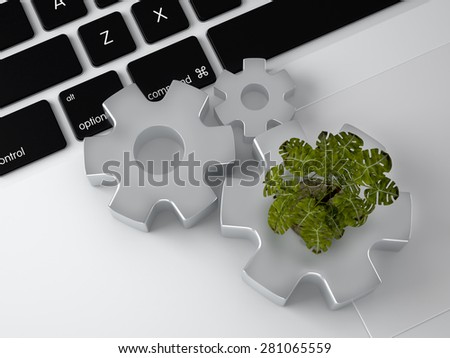 Environmentally friendly production concept.Concept: the importance of digitalizing in the infrastructures, considering also the environmental sustainability. - stock photo