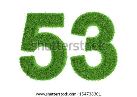Environmentally friendly symbol of number 53, filled with green grass pattern, isolated on white background