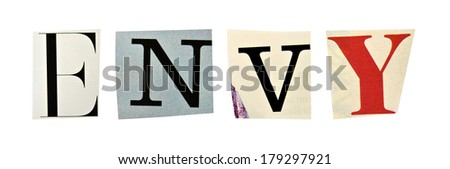 Envy formed with magazine letters on a white background - stock photo