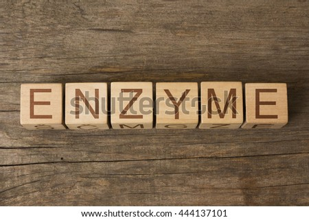 ENZYME word on wooden cubes