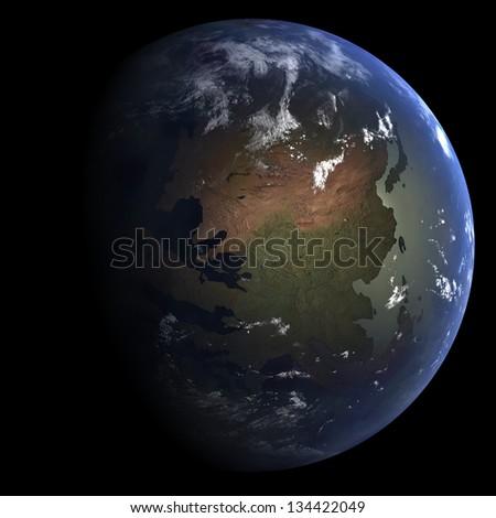 Eocene Earth: 33.9 million years ago - stock photo