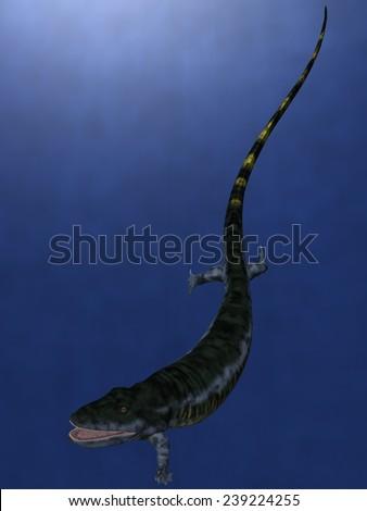 Eogyrinus attheyi - 3D Dinosaur - stock photo