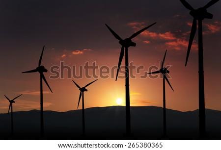 eolian turbine farm,wind turbine - stock photo