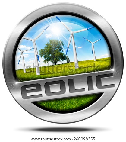 Eolic Energy - Metal Icon. Round metallic icon or symbol with wind turbines in countryside with a tree, blue sky, clouds and sun rays. Isolated on white background - stock photo