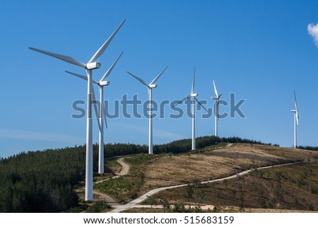 Eolic wind generators on top of hills in Portugal.