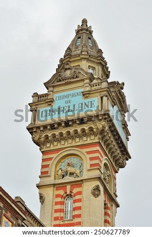EPERNAY, FRANCE-JULY 14, 2014: Historical tower of Champagne de Castellane producer of champagne wines - stock photo