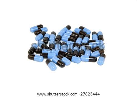 ephedrine pills isolated on white - stock photo