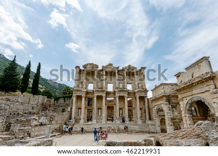 Ephesus(Efes) Archeological Site Turkey. June 2015. The celsus library.
