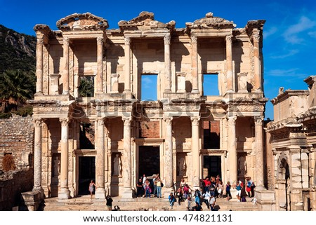 EPHESUS, TURKEY - SEPTEMBER 30, 2014: Front view of the Library of Celsus in Efes, the major tourist attraction