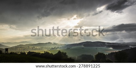 epic adventure and dramatic sunset landscape after rain in austria - stock photo