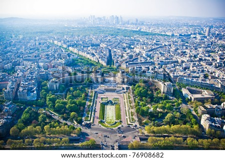Epic cityscape of Paris from Eiffel tower - stock photo