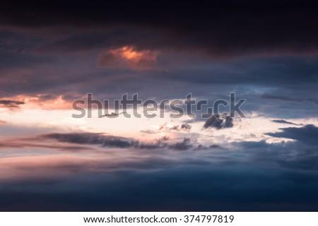 epic dramatic sunset sky background - stock photo