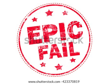 Epic fail word red stamp text on white background - stock photo