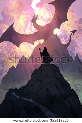 Epic fantasy illustration of a fire dragon spreading its wings above the mountains