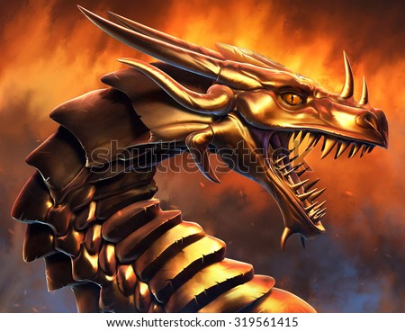 Epic Golden Dragon - stock photo