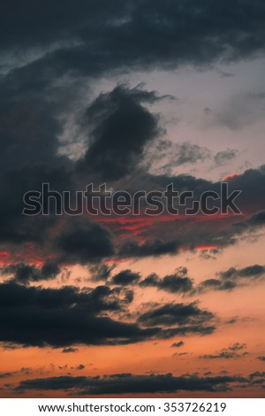 epic sunset clouds sky background - stock photo