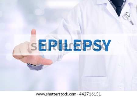 EPILEPSY Medicine doctor working with computer interface as medical - stock photo