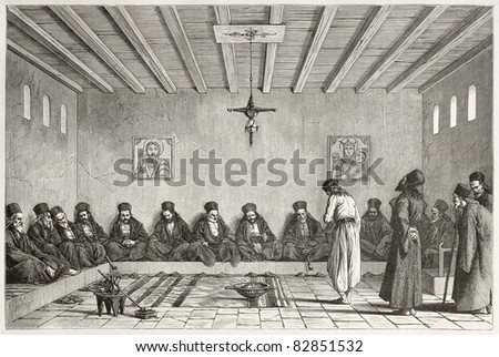 Epistates council old illustration, Mount Athos, Greece. Created by Boulanger after Proust, published on Le Tour du Monde, Paris, 1860 - stock photo