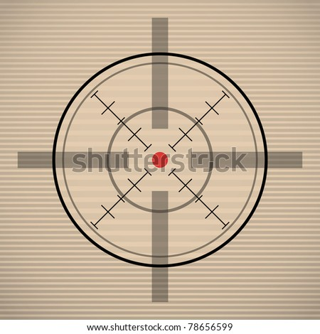 EPS10 crosshair with red dot - illustration - stock photo
