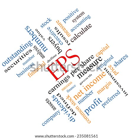 EPS Word Cloud Concept angled with great terms such as earnings, per, share, stock and more. - stock photo