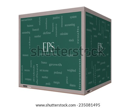 EPS Word Cloud Concept on a 3D Blackboard with great terms such as earnings, per, share, stock and more. - stock photo