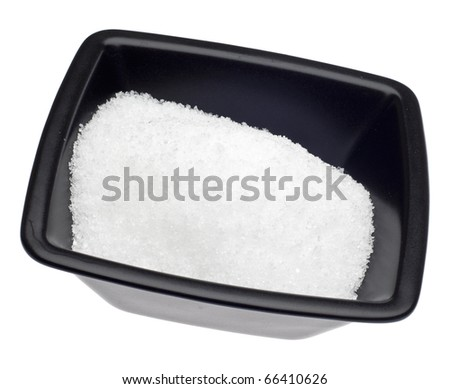 Epsom Salt in a Black Bowl Isolated on White with a Clipping Path.