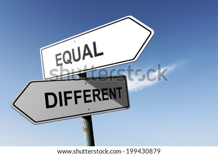 Equal and Different directions. Opposite traffic sign. - stock photo