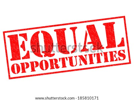 EQUAL OPPORTUNITIES red Rubber Stamp over a white background. - stock photo